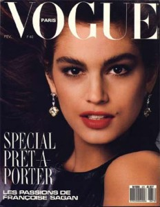 Vogue Paris cover featuring Cindy Crawford